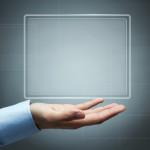 Futuristic digital display with copy space